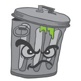 Angry garbage can. Cartoon illustration isolated on white Stock Photo