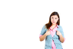 Angry getting mad young woman, teenager asking: you talking to me, or you mean me? Stock Images