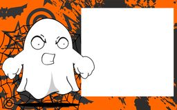 Angry Ghost halloween cartoon expressions frame background Royalty Free Stock Image