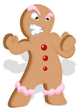 Angry Gingerbread Man - Christmas Vector Illustration Royalty Free Stock Photography