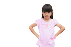 Angry Girl. Angry little girl, Isolated on white Stock Images