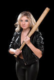 Angry girl with a bat in their hands Royalty Free Stock Photography