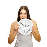 The angry girl bites clock Royalty Free Stock Image