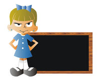 Angry girl with a blackboard at school. Angry girl with a blackboard at scool on a white background Stock Photo