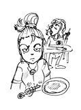 Angry girl and boy. Anime black and white sketch illustration of an angry female in the foreground holding a pan, and male sitting at a table talking in the Royalty Free Stock Image