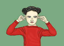 Angry girl covers his ears. He does not want to hear. Pop Art. Illustration. portrait on a white background Royalty Free Stock Photo