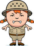Angry Girl Explorer. A cartoon illustration of a girl explorer looking angry stock illustration