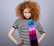 Angry girl with funny hair. Royalty Free Stock Photos