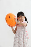 Angry girl holding balloon Royalty Free Stock Photo