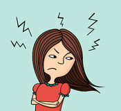 Angry girl. Illustration of angry girl on blue background Royalty Free Stock Photo