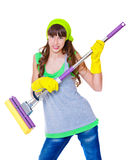Angry girl with  mop Royalty Free Stock Image