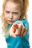 Angry girl is pointing Stock Image