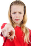 Angry girl is pointing Royalty Free Stock Image