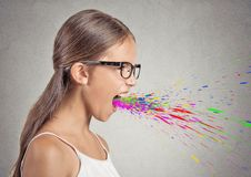 Angry girl screaming Stock Images