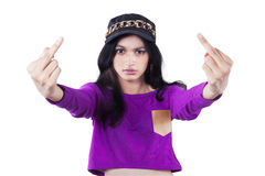 Angry girl showing middle fingers Royalty Free Stock Photo