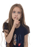 Angry Girl with Silence Gesture Stock Photo