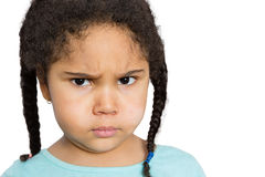 Angry Girl Staring at You Against White Background Stock Images