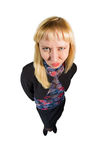 Angry girl in suit Royalty Free Stock Photos