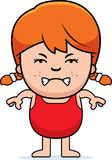 Angry Girl in Swimsuit. A cartoon illustration of a girl in a swimsuit looking angry Royalty Free Stock Photo