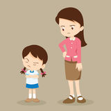 Angry girl and teacher. Teacher have worry and Rampage angry girl.aggressive children Royalty Free Stock Photography