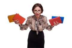 Angry girl teacher woman in glasses with books isolated on white Royalty Free Stock Photography