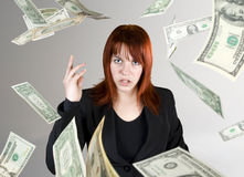 Angry girl throwing money in your face Stock Images