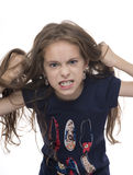 Angry Girl. Angry Young Girl Isolated on White Background stock photos