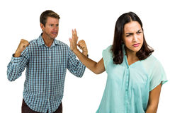 Angry girlfriend not listening to her boyfriend Royalty Free Stock Images