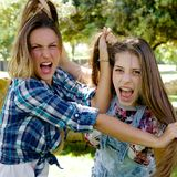 Angry girlfriends fighting pulling long hair Royalty Free Stock Image