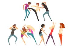 Angry people fighting and quarreling. Loud public scandal. Uncontrollable and aggressive people. Violent behavior. Flat. Angry girls and guys fighting and stock illustration