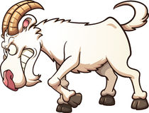 Angry goat. Angry cartoon goat ramming. Vector clip art illustration with simple gradients. All in a single layer Stock Photo