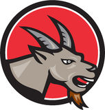 Angry Goat Head Circle Retro Stock Photography