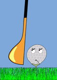Angry golfball awaiting stroke. Cartoon illustration - frightened golf ball awaiting stroke - vector Royalty Free Stock Photos