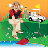 Angry Golfer. Golfer swearing, breaking clubs and throwing them into the lake Stock Photography
