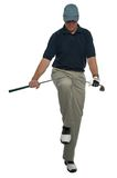 Angry golfer. Breaking a club over his knee Royalty Free Stock Image