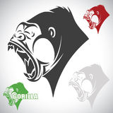 Angry gorilla. Vector illustration of gorilla in various color Royalty Free Illustration