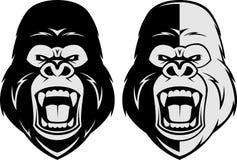 Angry gorilla head. Vector illustration, head evil ferocious gorilla shouts Stock Photo