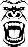 Angry gorilla head. Vector illustration, head evil ferocious gorilla shouts Stock Images