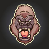 Angry gorilla. Mascot. Vector clip art illustration with simple gradients. Head, white line and background on separate layers Stock Photography