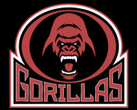 Angry gorilla symbol. Vector illustration, head evil ferocious gorilla shouts, mascot Royalty Free Stock Photos