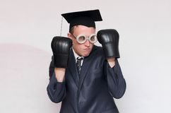 Graduate student. Angry graduate student in the boxing gloves isolated on gray background. Education concept. A protection of diploma work stock photo