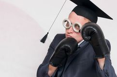 Graduate student. Angry graduate student in the boxing gloves isolated on gray background. Education concept. A protection of diploma work stock photos