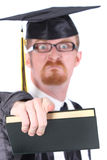 Angry graduation a young man Stock Photography