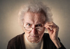 Angry grandmother Royalty Free Stock Images
