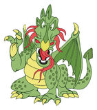 Angry Green Dragon. Vector illustration on white background Stock Image