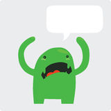 Angry Green Monster with Speech Bubble Stock Photos