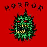 Angry green prickly ghost. vector illustration. Angry green prickly ghost. horror genre. vector illustration Royalty Free Stock Image