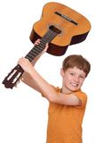 Angry guitar player Stock Photos