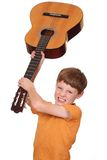 Angry guitar player Stock Images