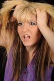 angry hair tearing woman Στοκ Φωτογραφία